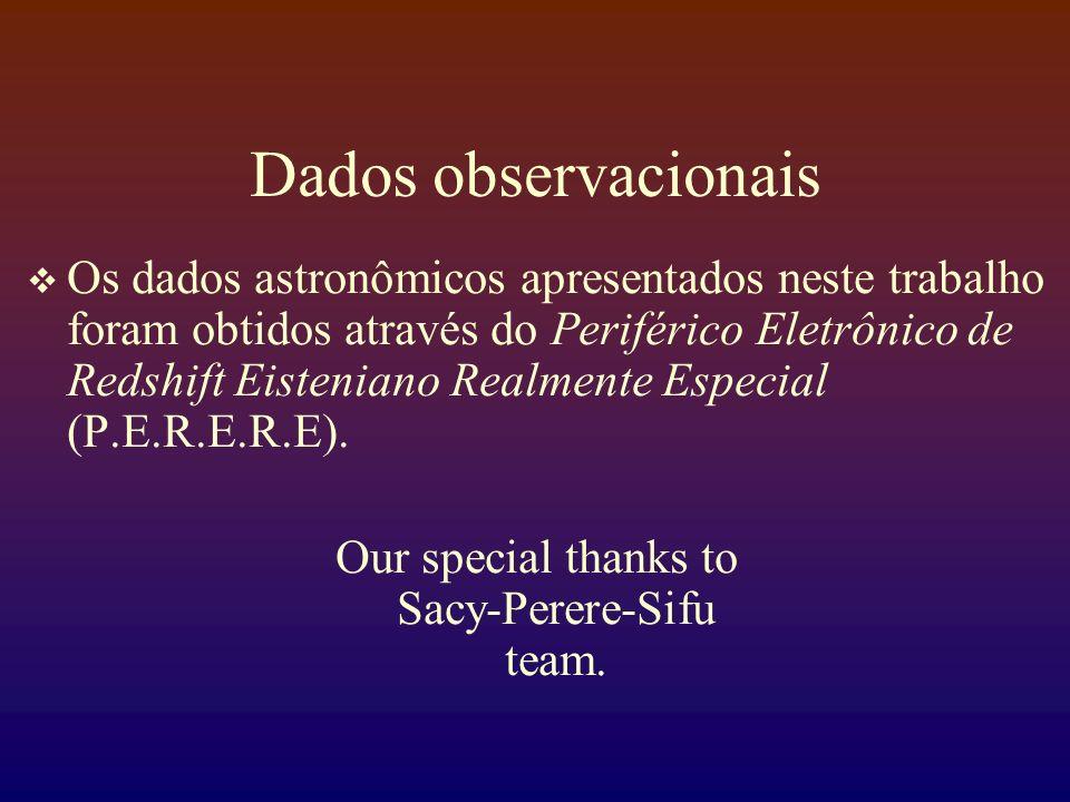 Dados observacionais Os dados astronômicos apresentados neste trabalho foram obtidos através do Periférico Eletrônico de Redshift Eisteniano Realmente