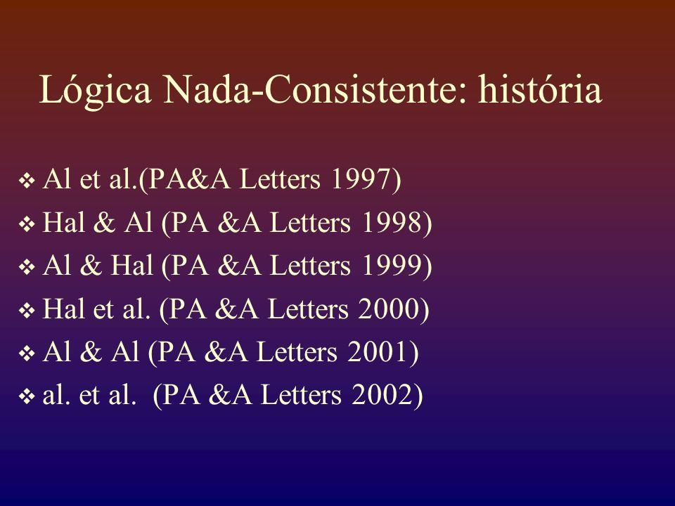 Lógica Nada-Consistente: história Al et al.(PA&A Letters 1997) Hal & Al (PA &A Letters 1998) Al & Hal (PA &A Letters 1999) Hal et al. (PA &A Letters 2