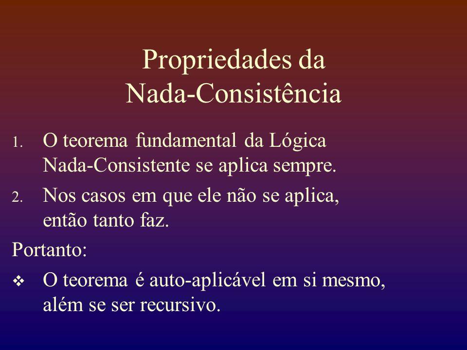 Propriedades da Nada-Consistência 1. O teorema fundamental da Lógica Nada-Consistente se aplica sempre. 2. Nos casos em que ele não se aplica, então t
