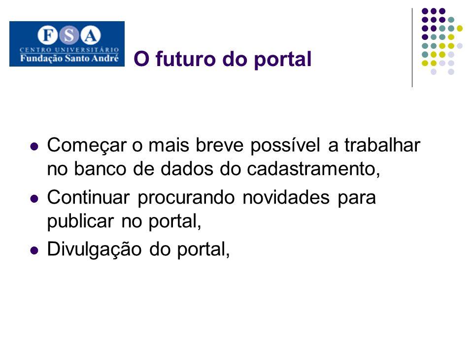 O futuro do portal Começar o mais breve possível a trabalhar no banco de dados do cadastramento, Continuar procurando novidades para publicar no porta