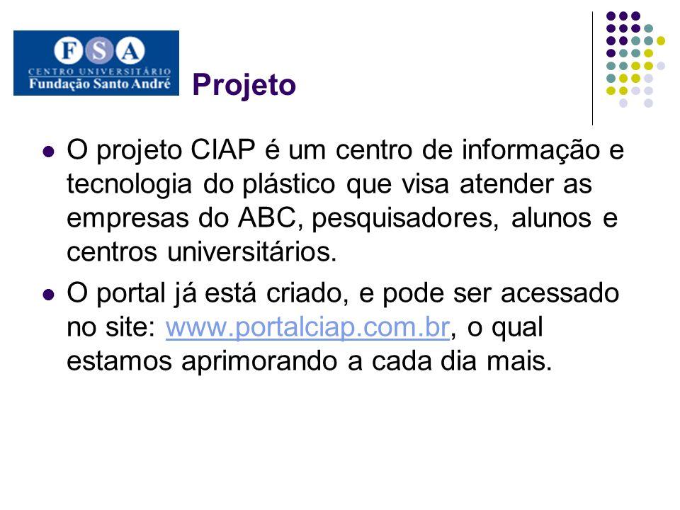 Projeto O projeto CIAP é um centro de informação e tecnologia do plástico que visa atender as empresas do ABC, pesquisadores, alunos e centros univers