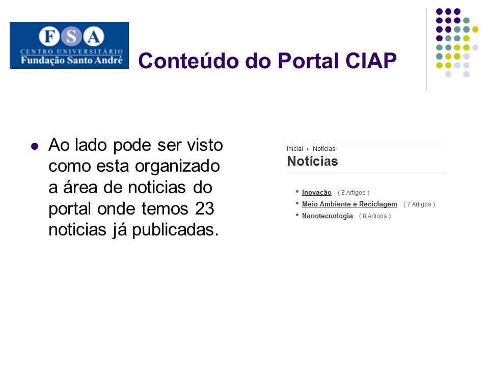 Conteúdo do Portal CIAP Nesta área dividimos em eventos nacionais e internacionais.
