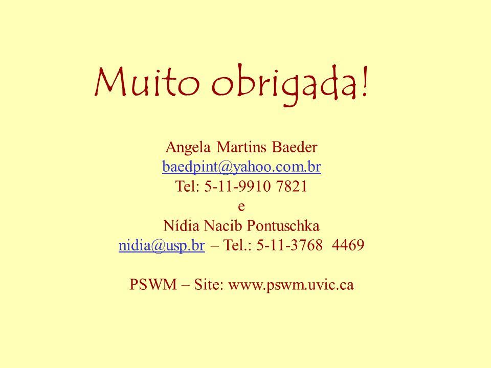 Muito obrigada! Angela Martins Baeder baedpint@yahoo.com.br Tel: 5-11-9910 7821 e Nídia Nacib Pontuschka nidia@usp.brnidia@usp.br – Tel.: 5-11-3768 44