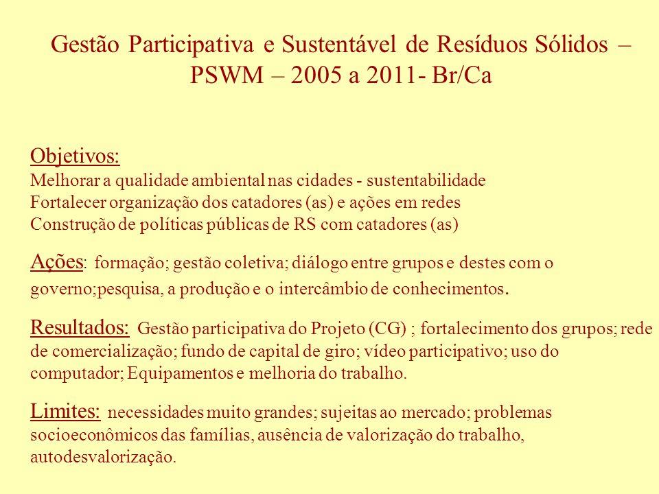Gestão Participativa e Sustentável de Resíduos Sólidos – PSWM – 2005 a 2011- Br/Ca Objetivos: Melhorar a qualidade ambiental nas cidades - sustentabil