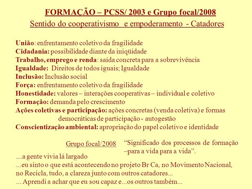 Gestão Participativa e Sustentável de Resíduos Sólidos – PSWM 2005 a 2011- Br/Ca Cooperativismo - Grupo Focal - Lideranças - CG União é a referência para a sobrevivência das cooperativas.