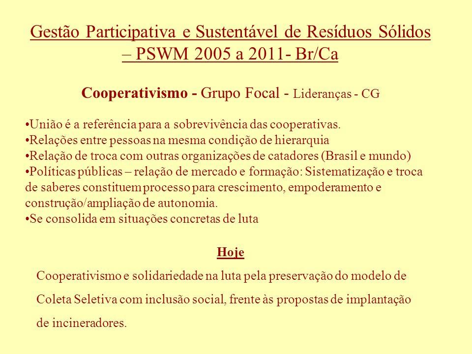 Gestão Participativa e Sustentável de Resíduos Sólidos – PSWM 2005 a 2011- Br/Ca Cooperativismo - Grupo Focal - Lideranças - CG União é a referência p