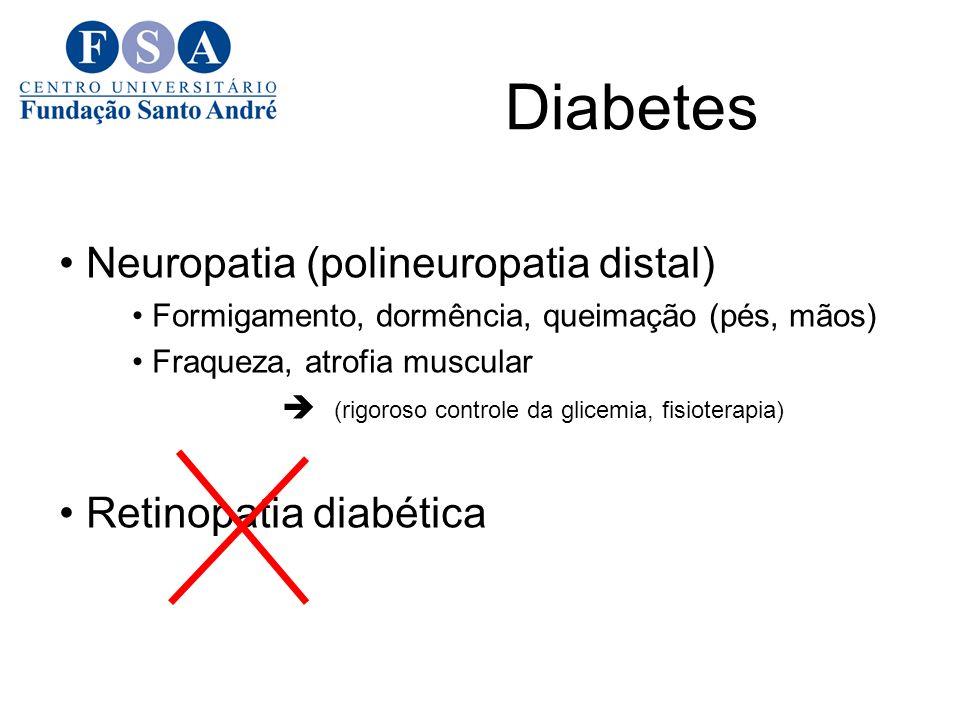 Diabetes Neuropatia (polineuropatia distal) Formigamento, dormência, queimação (pés, mãos) Fraqueza, atrofia muscular (rigoroso controle da glicemia, fisioterapia) Retinopatia diabética