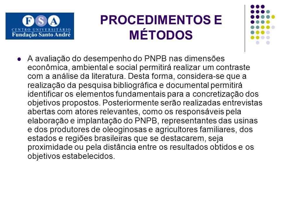PROCEDIMENTOS E MÉTODOS A avaliação do desempenho do PNPB nas dimensões econômica, ambiental e social permitirá realizar um contraste com a análise da
