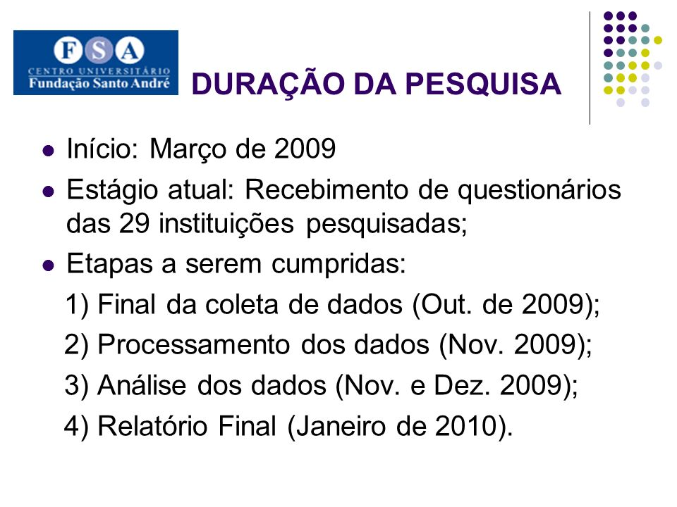 DURAÇÃO DA PESQUISA Início: Março de 2009 Estágio atual: Recebimento de questionários das 29 instituições pesquisadas; Etapas a serem cumpridas: 1) Fi
