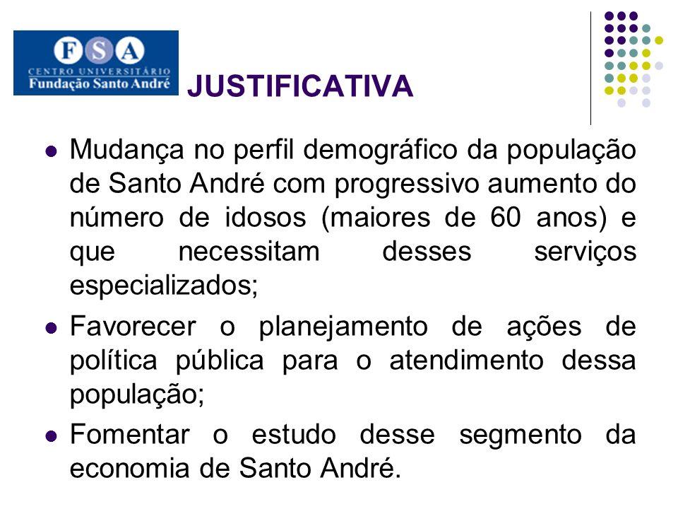 JUSTIFICATIVA Mudança no perfil demográfico da população de Santo André com progressivo aumento do número de idosos (maiores de 60 anos) e que necessi