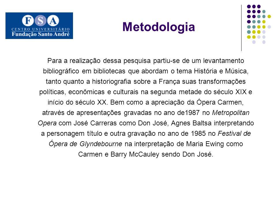 Metodologia Para a realização dessa pesquisa partiu-se de um levantamento bibliográfico em bibliotecas que abordam o tema História e Música, tanto qua