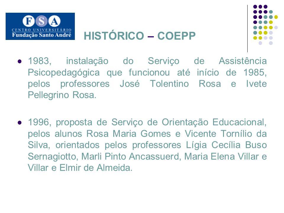 HISTÓRICO – COEPP 1983, instalação do Serviço de Assistência Psicopedagógica que funcionou até início de 1985, pelos professores José Tolentino Rosa e