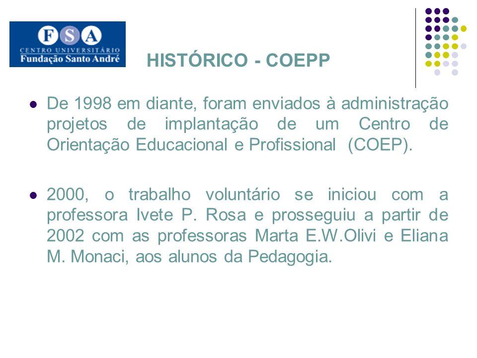 HISTÓRICO - COEPP De 1998 em diante, foram enviados à administração projetos de implantação de um Centro de Orientação Educacional e Profissional (COE