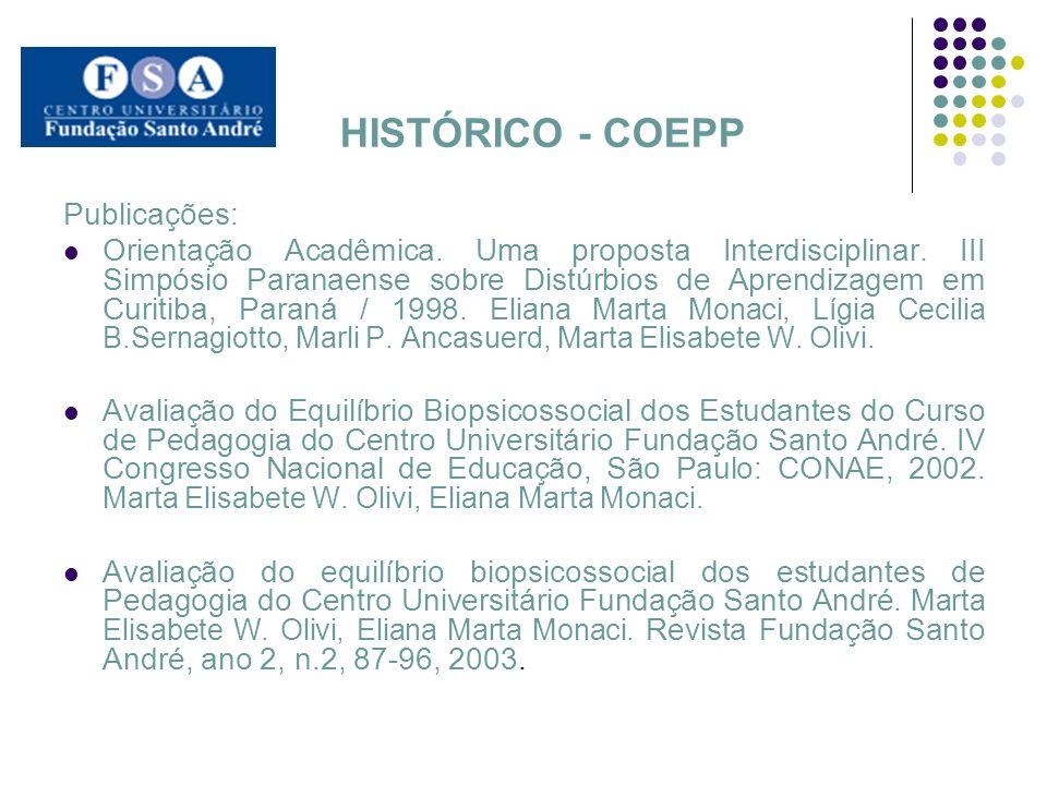HISTÓRICO - COEPP Publicações: Orientação Acadêmica. Uma proposta Interdisciplinar. III Simpósio Paranaense sobre Distúrbios de Aprendizagem em Curiti
