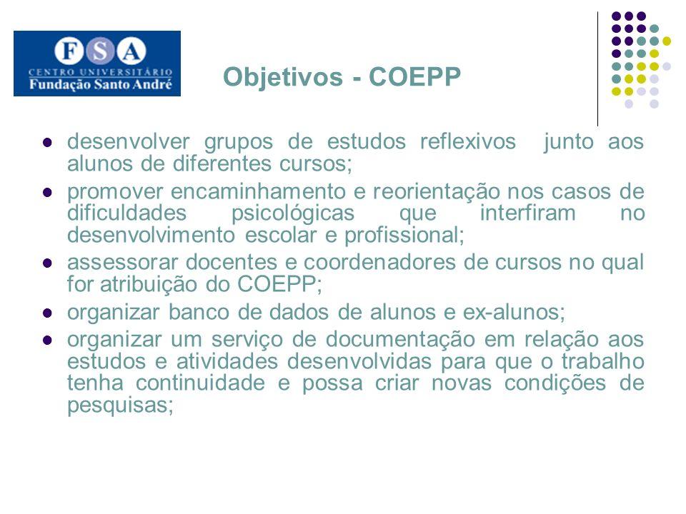 Objetivos - COEPP desenvolver grupos de estudos reflexivos junto aos alunos de diferentes cursos; promover encaminhamento e reorientação nos casos de