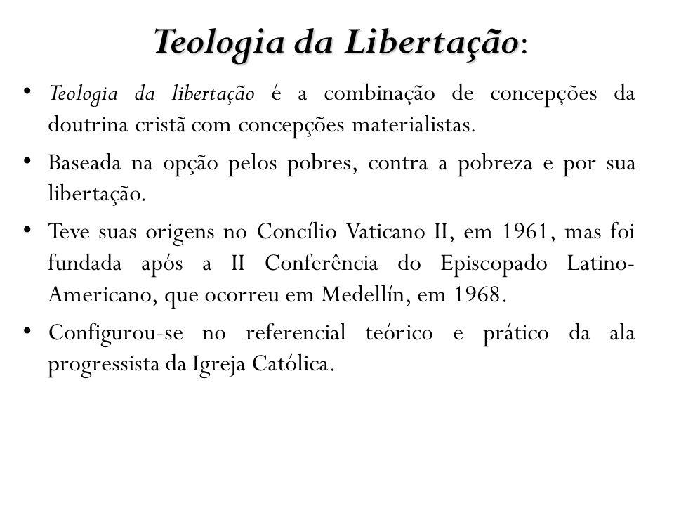Teologia da Libertação Teologia da Libertação: Teologia da libertação é a combinação de concepções da doutrina cristã com concepções materialistas. Ba