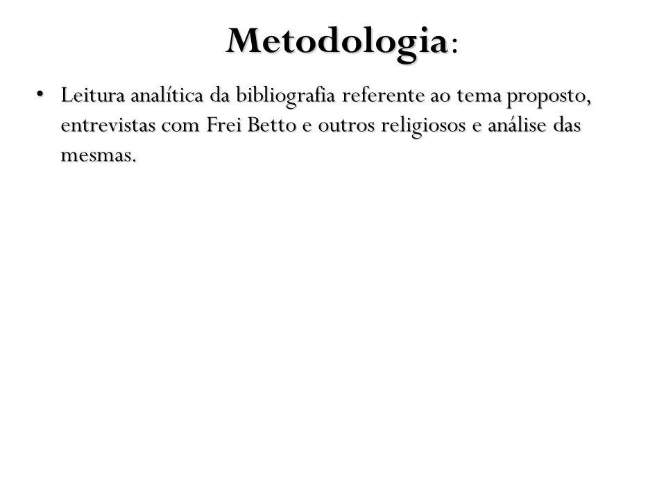 Metodologia Metodologia: Leitura analítica da bibliografia referente ao tema proposto, entrevistas com Frei Betto e outros religiosos e análise das me