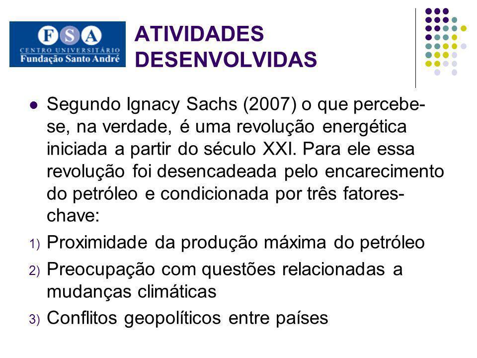 ATIVIDADES DESENVOLVIDAS Segundo Ignacy Sachs (2007) o que percebe- se, na verdade, é uma revolução energética iniciada a partir do século XXI. Para e