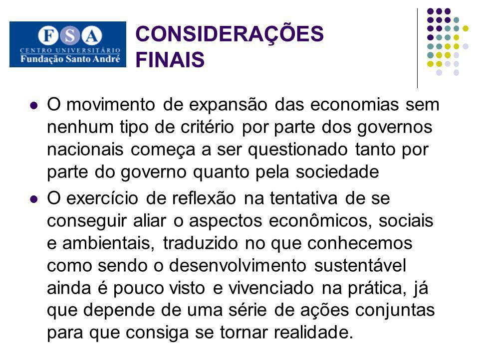 CONSIDERAÇÕES FINAIS O movimento de expansão das economias sem nenhum tipo de critério por parte dos governos nacionais começa a ser questionado tanto