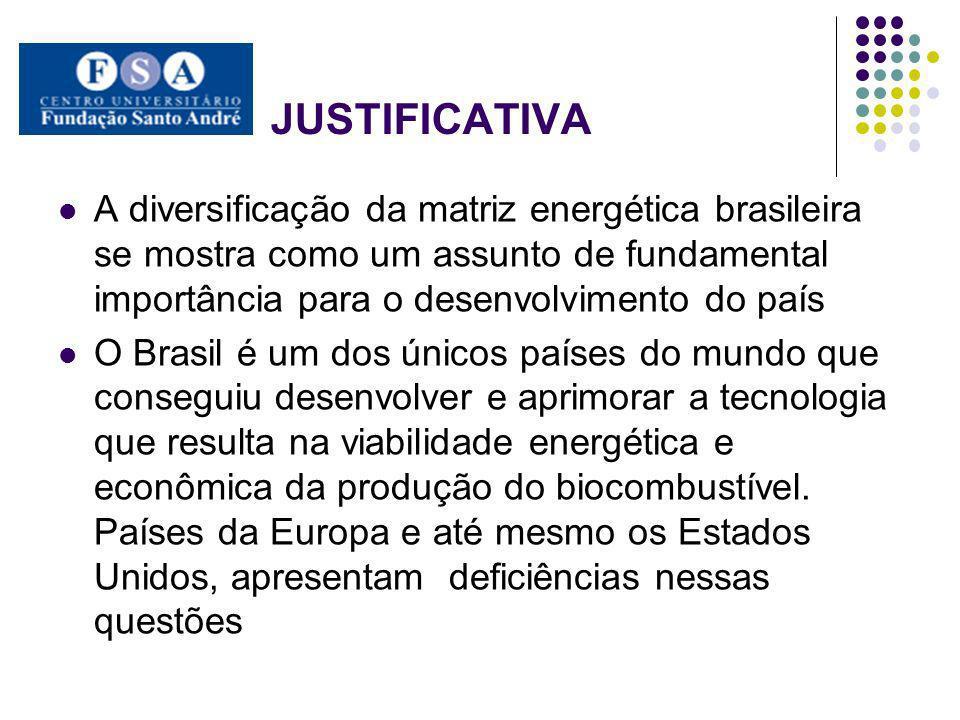 JUSTIFICATIVA A diversificação da matriz energética brasileira se mostra como um assunto de fundamental importância para o desenvolvimento do país O B