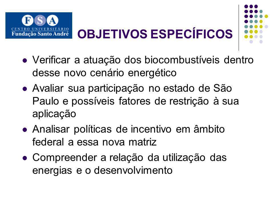 OBJETIVOS ESPECÍFICOS Verificar a atuação dos biocombustíveis dentro desse novo cenário energético Avaliar sua participação no estado de São Paulo e p