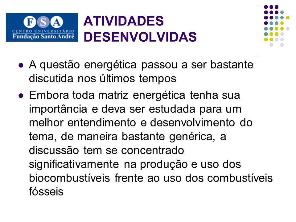 ATIVIDADES DESENVOLVIDAS Segundo Ignacy Sachs (2007) o que percebe- se, na verdade, é uma revolução energética iniciada a partir do século XXI.