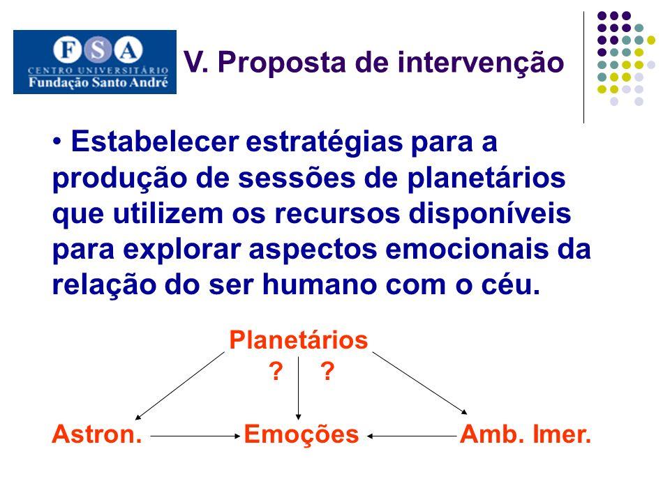 V. Proposta de intervenção Estabelecer estratégias para a produção de sessões de planetários que utilizem os recursos disponíveis para explorar aspect