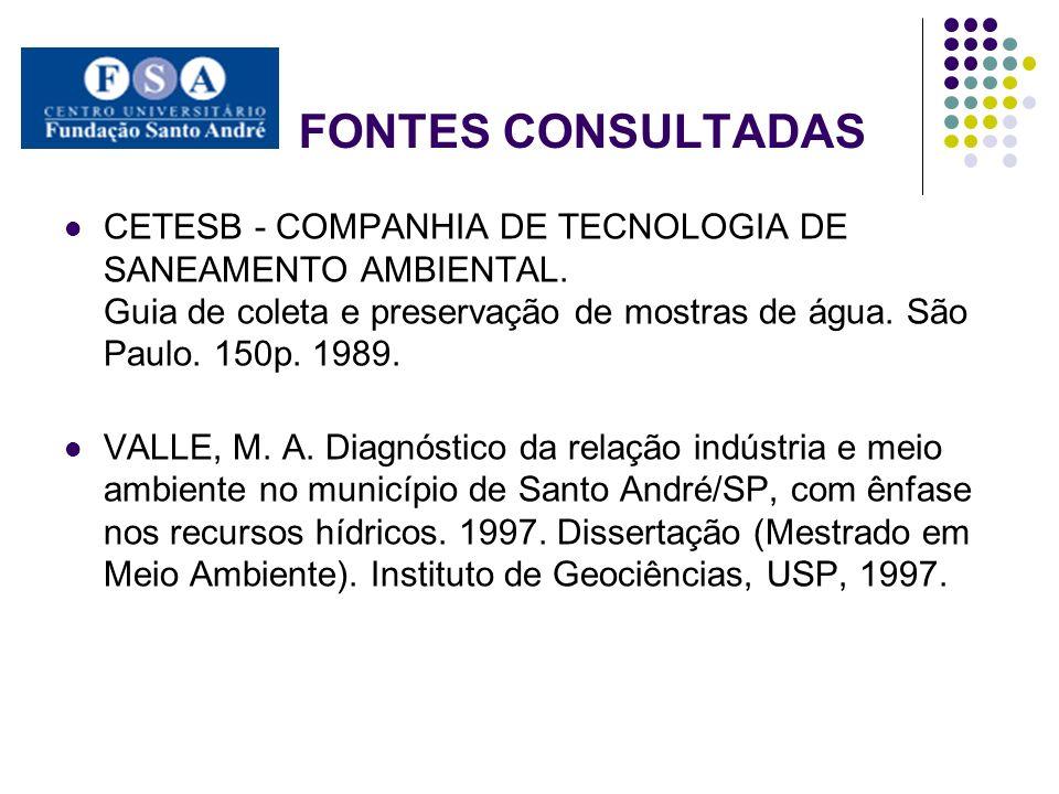 FONTES CONSULTADAS CETESB - COMPANHIA DE TECNOLOGIA DE SANEAMENTO AMBIENTAL. Guia de coleta e preservação de mostras de água. São Paulo. 150p. 1989. V