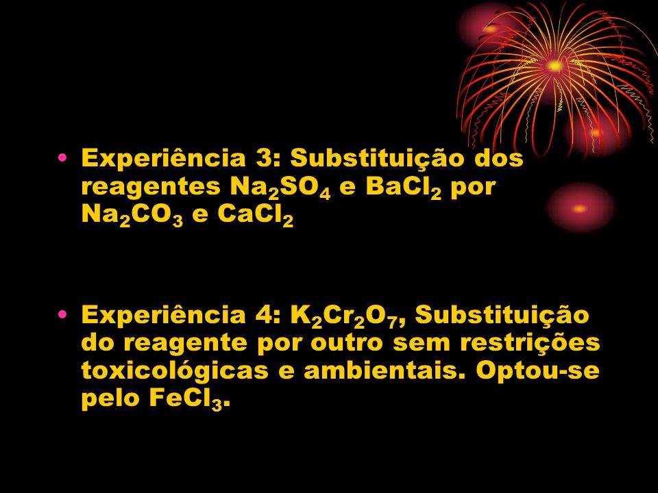 Experiência 3: Substituição dos reagentes Na 2 SO 4 e BaCl 2 por Na 2 CO 3 e CaCl 2 Experiência 4: K 2 Cr 2 O 7, Substituição do reagente por outro se