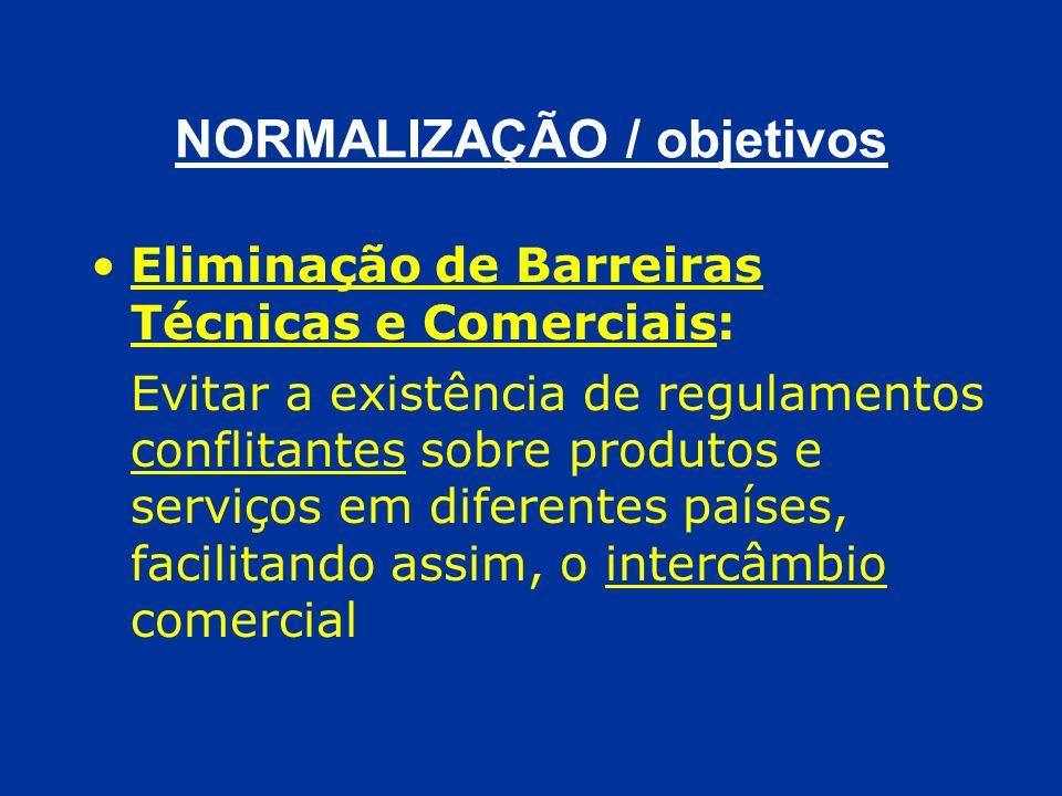 NORMALIZAÇÃO / objetivos Eliminação de Barreiras Técnicas e Comerciais: Evitar a existência de regulamentos conflitantes sobre produtos e serviços em