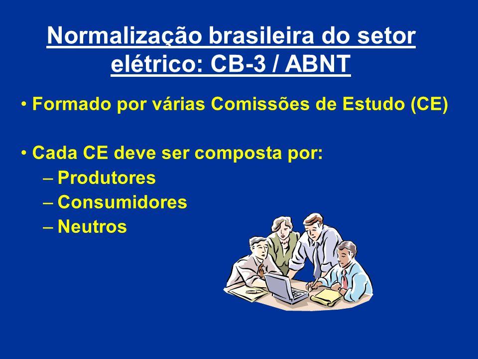 Normalização brasileira do setor elétrico: CB-3 / ABNT Formado por várias Comissões de Estudo (CE) Cada CE deve ser composta por: –Produtores –Consumi