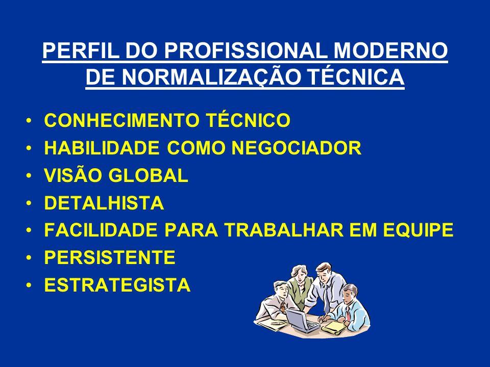 PERFIL DO PROFISSIONAL MODERNO DE NORMALIZAÇÃO TÉCNICA CONHECIMENTO TÉCNICO HABILIDADE COMO NEGOCIADOR VISÃO GLOBAL DETALHISTA FACILIDADE PARA TRABALH