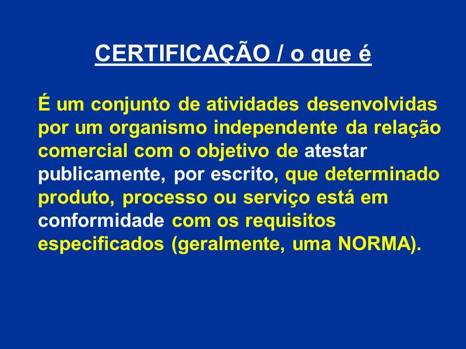 CERTIFICAÇÃO / o que é É um conjunto de atividades desenvolvidas por um organismo independente da relação comercial com o objetivo de atestar publicam