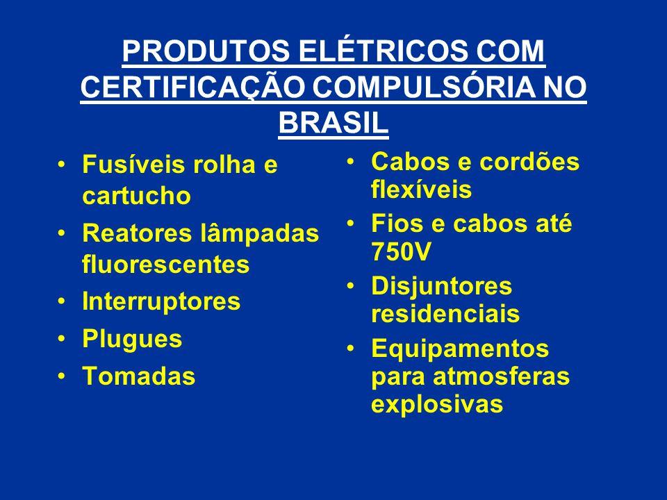PRODUTOS ELÉTRICOS COM CERTIFICAÇÃO COMPULSÓRIA NO BRASIL Fusíveis rolha e cartucho Reatores lâmpadas fluorescentes Interruptores Plugues Tomadas Cabo