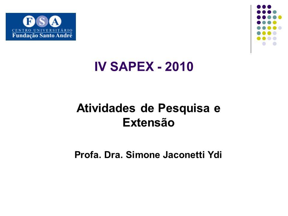 IV SAPEX - 2010 Atividades de Pesquisa e Extensão Profa. Dra. Simone Jaconetti Ydi
