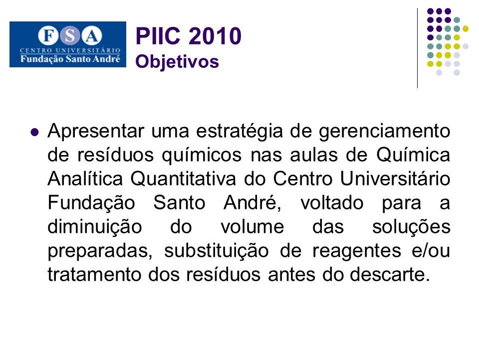 PIIC 2010 Objetivos Apresentar uma estratégia de gerenciamento de resíduos químicos nas aulas de Química Analítica Quantitativa do Centro Universitári