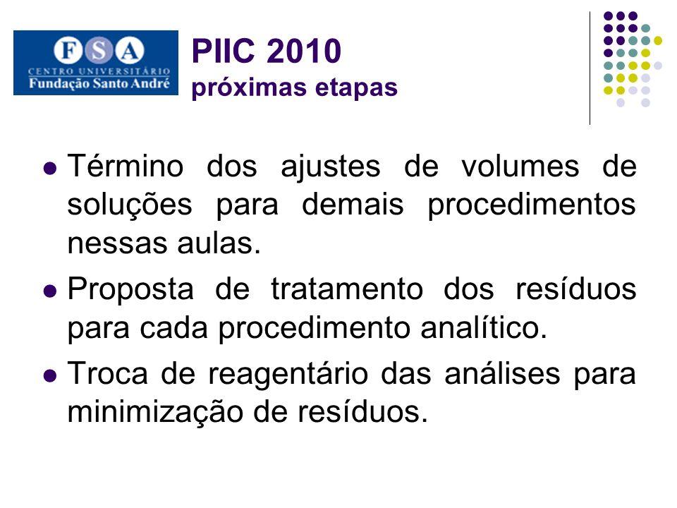 PIIC 2010 próximas etapas Término dos ajustes de volumes de soluções para demais procedimentos nessas aulas. Proposta de tratamento dos resíduos para