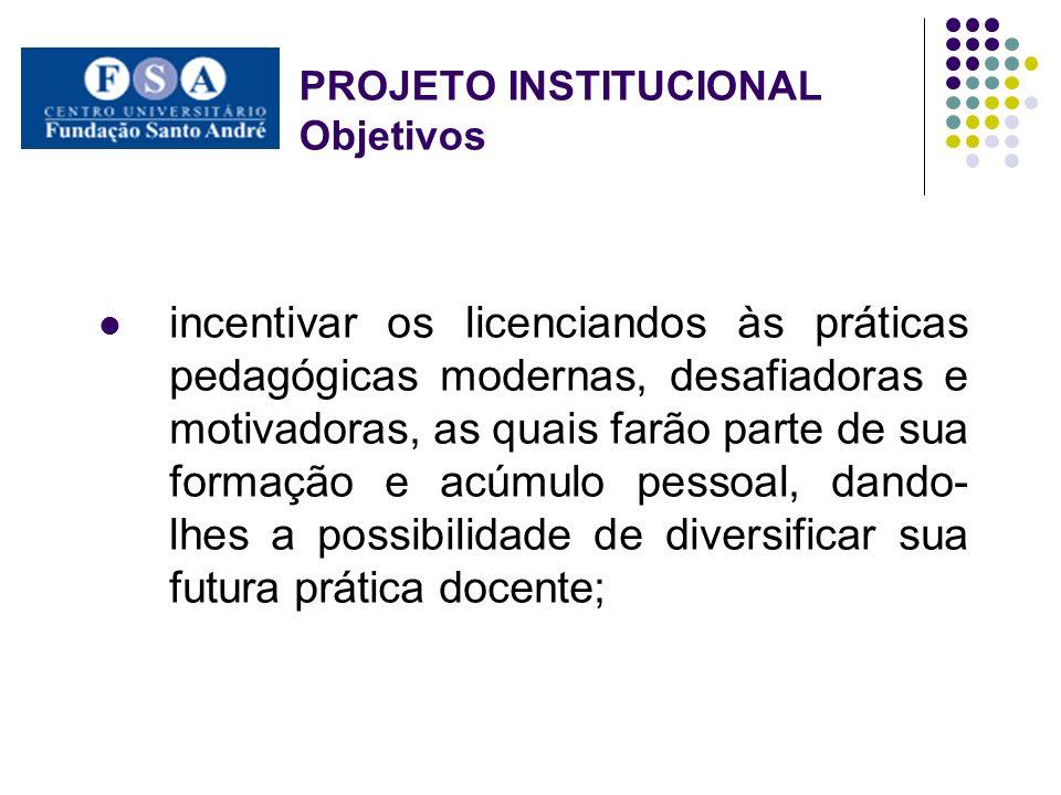 PROJETO INSTITUCIONAL Objetivos incentivar os licenciandos às práticas pedagógicas modernas, desafiadoras e motivadoras, as quais farão parte de sua f