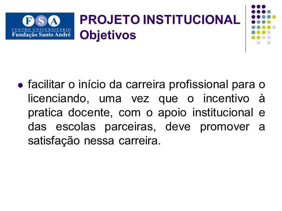 facilitar o início da carreira profissional para o licenciando, uma vez que o incentivo à pratica docente, com o apoio institucional e das escolas par