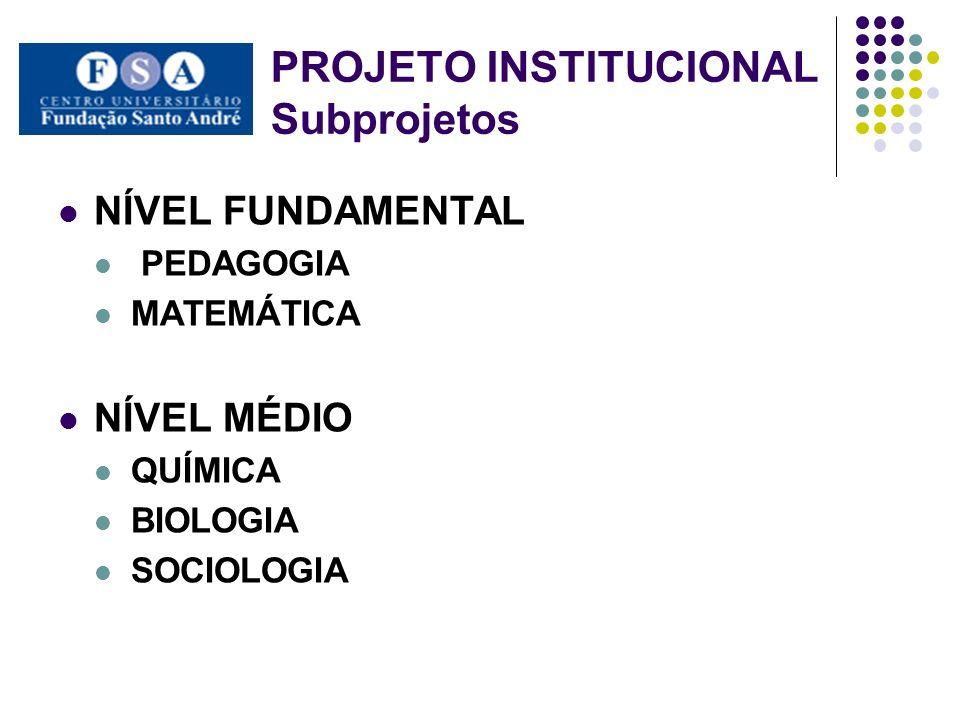 NÍVEL FUNDAMENTAL PEDAGOGIA MATEMÁTICA NÍVEL MÉDIO QUÍMICA BIOLOGIA SOCIOLOGIA PROJETO INSTITUCIONAL Subprojetos