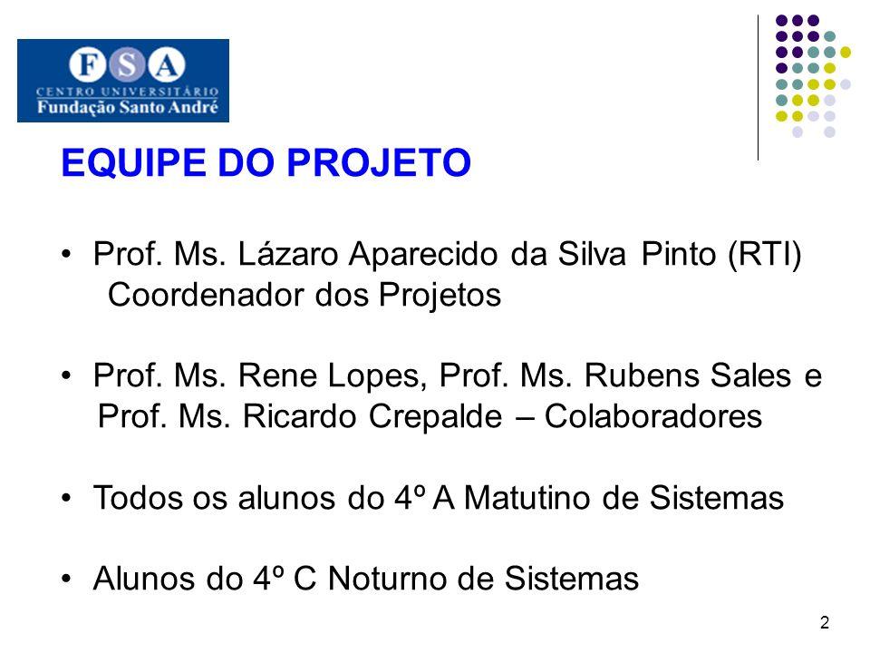 EQUIPE DO PROJETO Prof. Ms. Lázaro Aparecido da Silva Pinto (RTI) Coordenador dos Projetos Prof. Ms. Rene Lopes, Prof. Ms. Rubens Sales e Prof. Ms. Ri