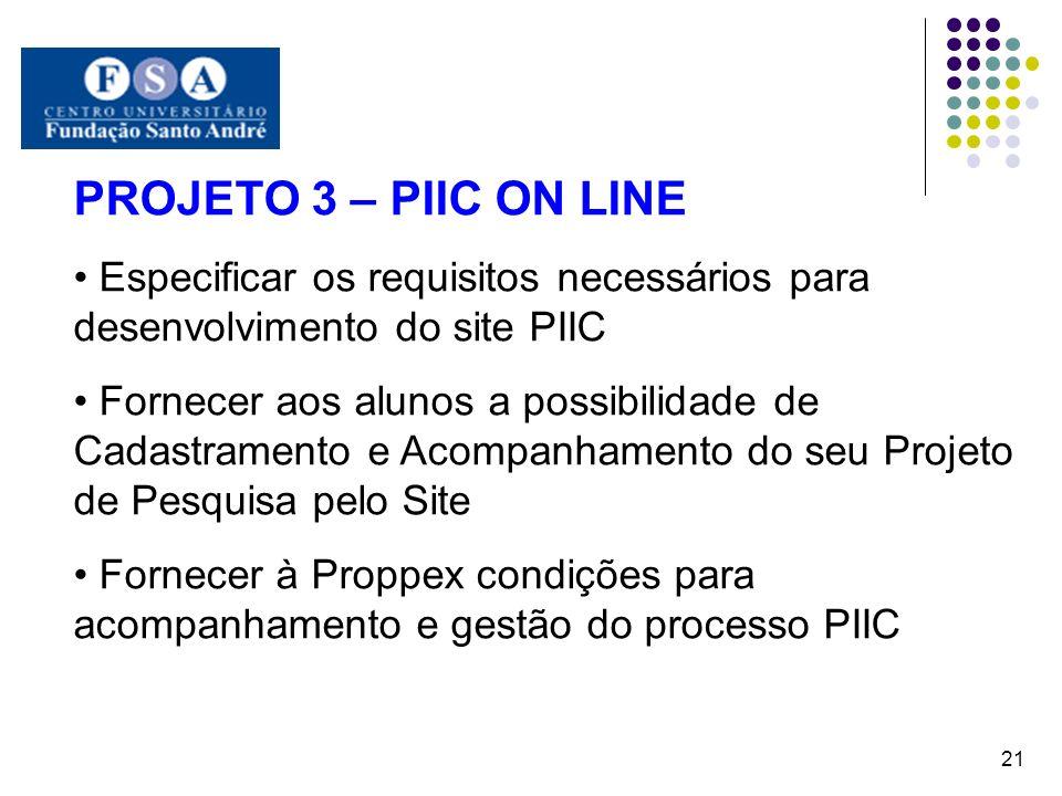 PROJETO 3 – PIIC ON LINE Especificar os requisitos necessários para desenvolvimento do site PIIC Fornecer aos alunos a possibilidade de Cadastramento