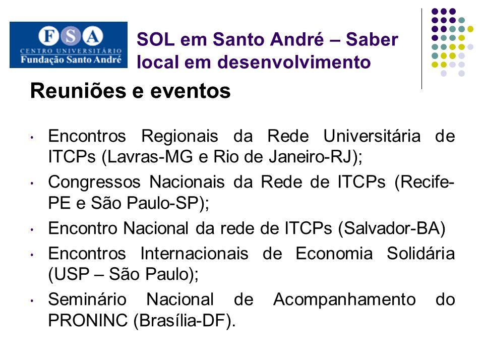 SOL em Santo André – Saber local em desenvolvimento Reuniões e eventos Encontros Regionais da Rede Universitária de ITCPs (Lavras-MG e Rio de Janeiro-