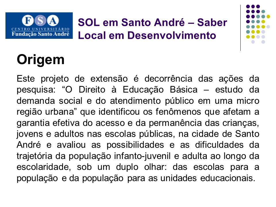 SOL em Santo André – Saber local em desenvolvimento Considerações finais Este projeto permitiu realizar a função social do CUFSA, pelas consequências positivas que trouxe para a população local e também para o ensino, a pesquisa e a extensão.