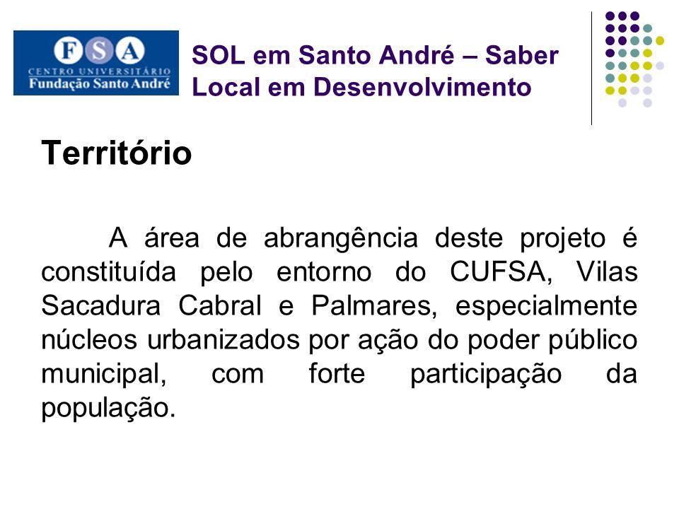 SOL em Santo André – Saber Local em Desenvolvimento Território A área de abrangência deste projeto é constituída pelo entorno do CUFSA, Vilas Sacadura