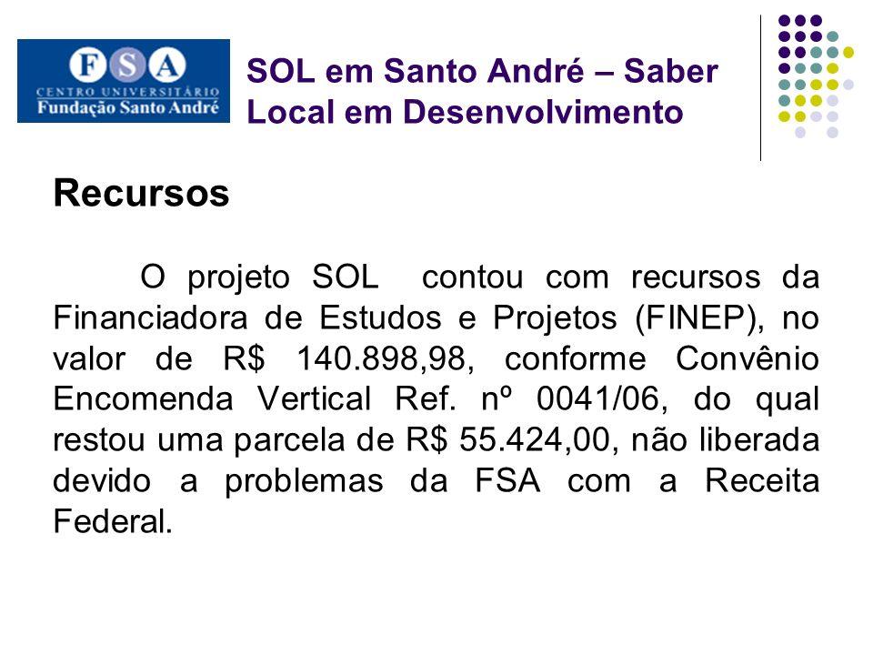 SOL em Santo André – Saber Local em Desenvolvimento Objetivo Este projeto teve como objetivo contribuir para o desenvolvimento de atividades de geração de trabalho e renda para as comunidades do entorno da FSA.