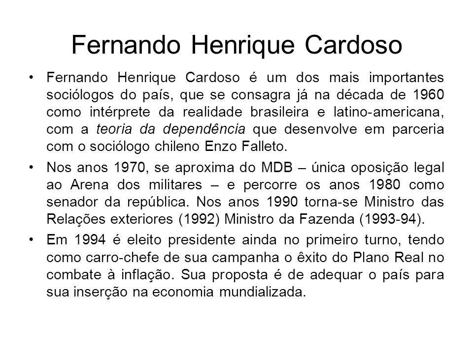 Fernando Henrique Cardoso Fernando Henrique Cardoso é um dos mais importantes sociólogos do país, que se consagra já na década de 1960 como intérprete