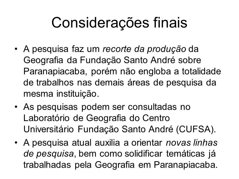 Considerações finais A pesquisa faz um recorte da produção da Geografia da Fundação Santo André sobre Paranapiacaba, porém não engloba a totalidade de