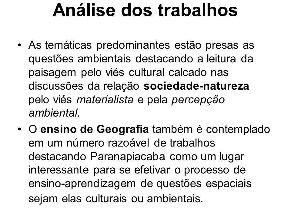Análise dos trabalhos As temáticas predominantes estão presas as questões ambientais destacando a leitura da paisagem pelo viés cultural calcado nas d
