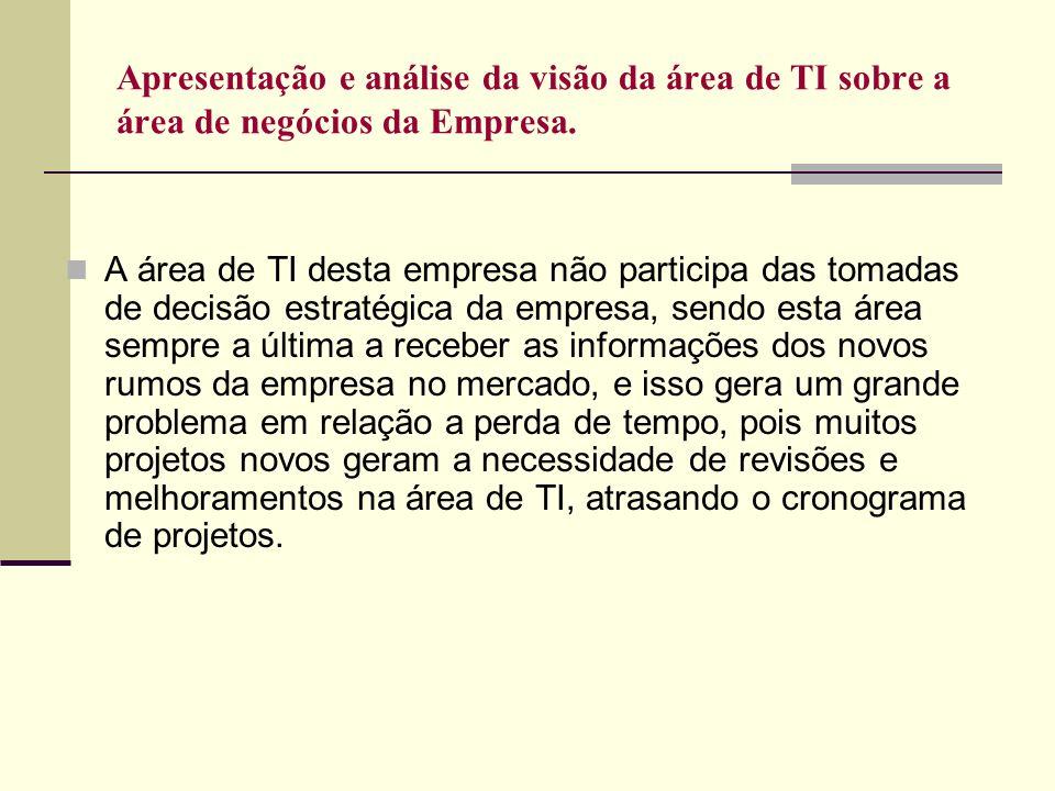 Apresentação e análise da visão da área de TI sobre a área de negócios da Empresa. A área de TI desta empresa não participa das tomadas de decisão est